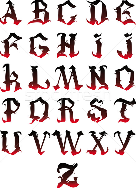 Gótico alfabeto belo cartas isolado branco Foto stock © sharpner