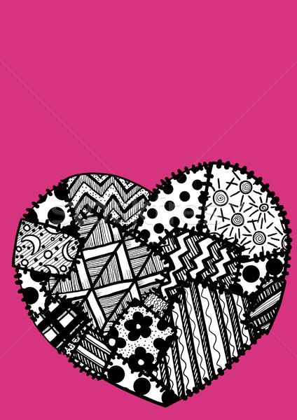 Carte postale coeur patchwork saint valentin texture mode Photo stock © sharpner