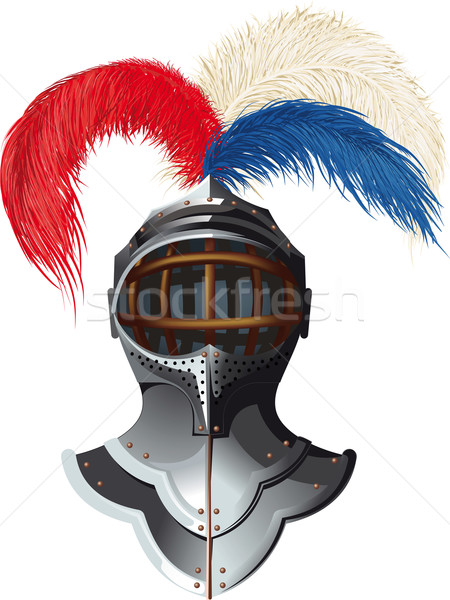 steel helmet with feathers Stock photo © sharpner