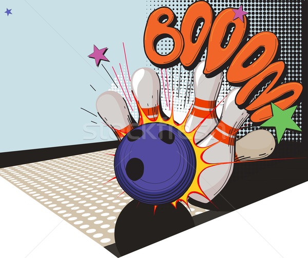 retro styled bowling game picture Stock photo © sharpner