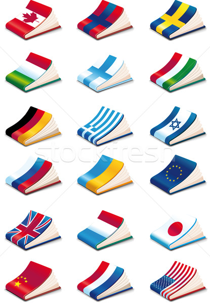 Sprache achtzehn internationalen Buch Symbole Stock foto © sharpner