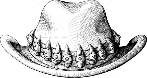 Cowboy hat widoku front odznaczony twarz Zdjęcia stock © sharpner