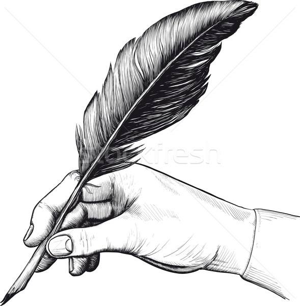 drawing of hand with a feather pen Stock photo © sharpner