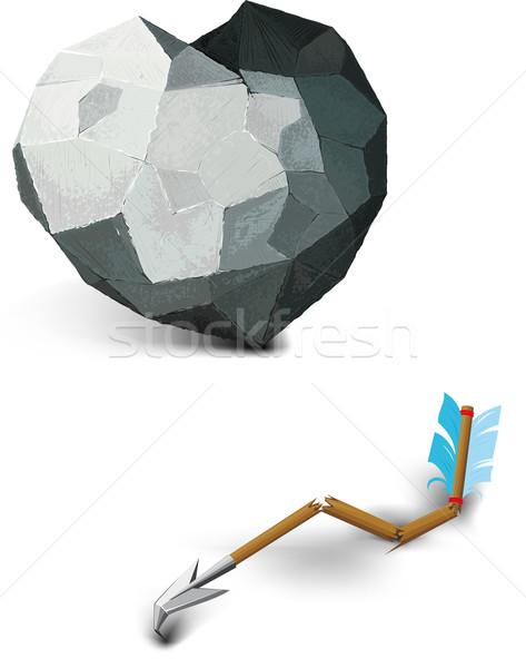 Piedra corazón roto flecha vida blanco Foto stock © sharpner
