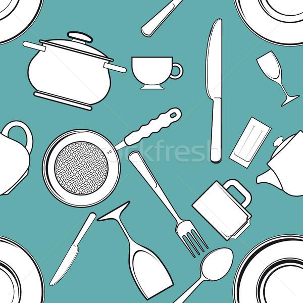 シームレス アンティーク キッチン 食器 食品 ストックフォト © sharpner