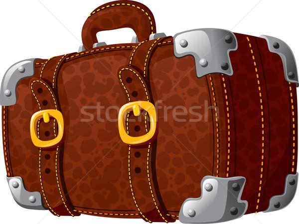 Velho manchado mala couro viajar Foto stock © sharpner