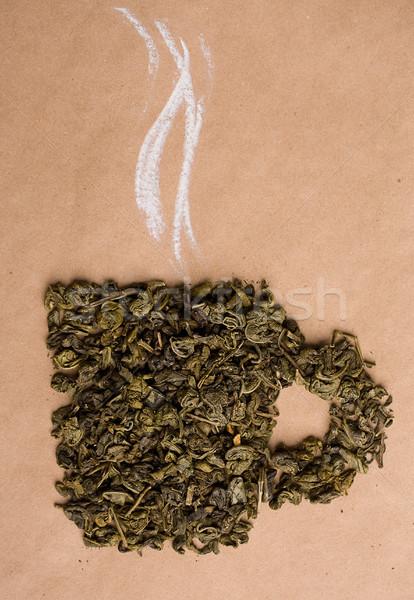 Foto d'archivio: Tè · verde · Cup · essiccati · foglie · forma · beige