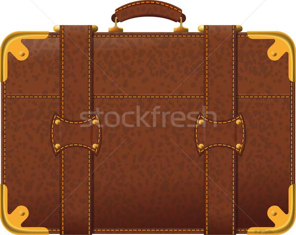 Bruin koffer realistisch afbeelding ouderwets zijaanzicht Stockfoto © sharpner