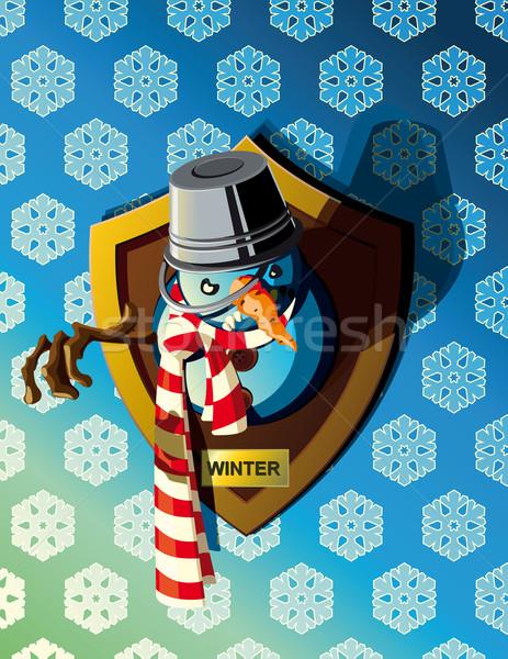 Outro frio inverno engraçado quadro boneco de neve Foto stock © sharpner