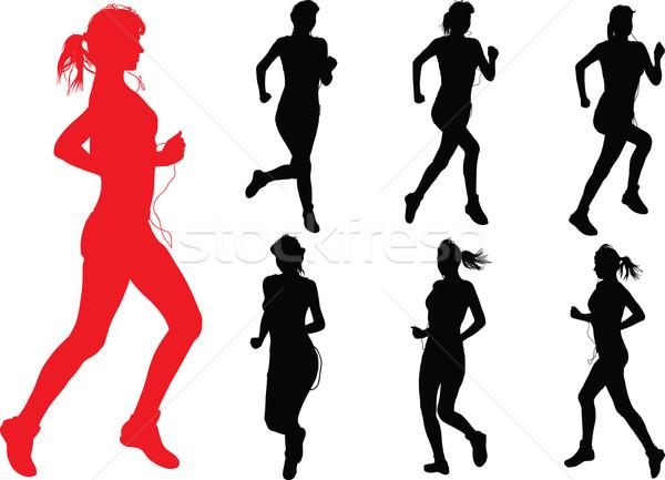 Correr meninas jovem esbelto mulher fones de ouvido Foto stock © sharpner