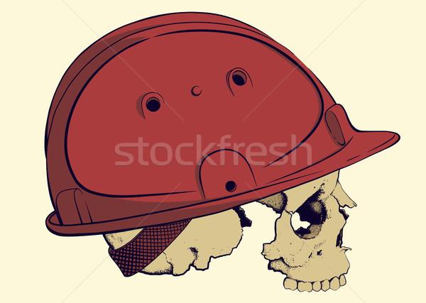 頭蓋骨 建設 ヘルメット プロファイル 赤 プラスチック ストックフォト © sharpner