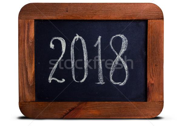 Schoolbord krijt boord lip houten frame opschrift Stockfoto © sharpner