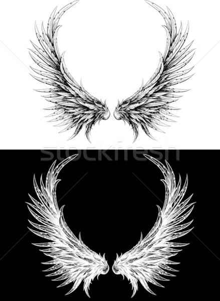 Silhueta asas como nosso desenho preto e branco Foto stock © sharpner