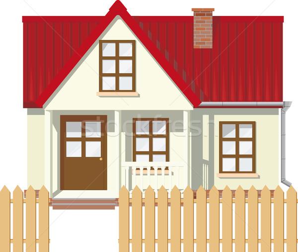 Mały wiejski domu mały dwór czerwony Zdjęcia stock © sharpner