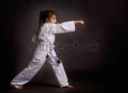 Menina little girl karatê branco cinto três Foto stock © sharpner
