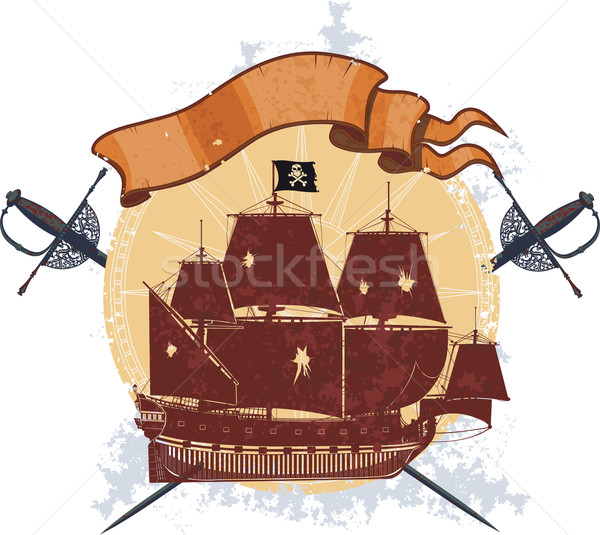 Pirata buque placa silueta dos vacío Foto stock © sharpner
