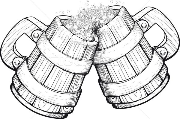 Two Beer wooden mugs Stock photo © sharpner