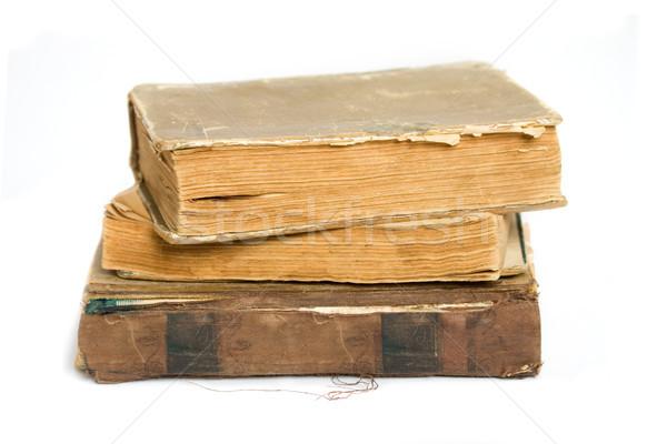 öreg rongyos könyvek boglya fehér papír Stock fotó © sharpner