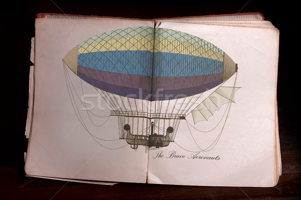 Oud boek Open oude Open boek kleur illustratie Stockfoto © sharpner