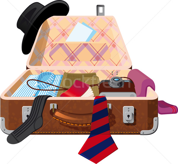 オープン スーツケース 物事 アップ チェック ストックフォト © sharpner