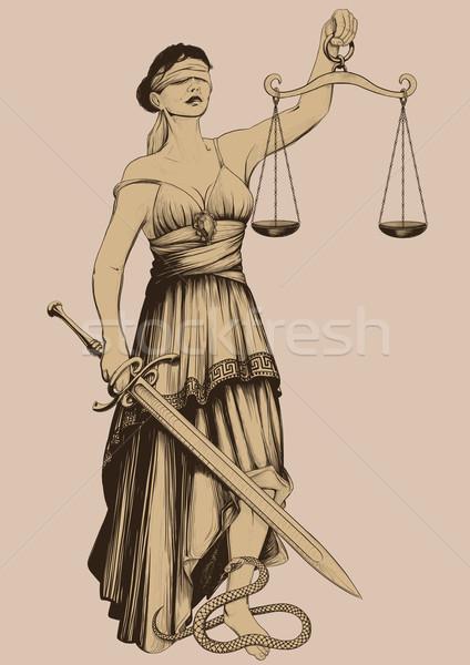 Symbol Gerechtigkeit mit verbundenen Augen Gewichte Arm Länge Stock foto © sharpner