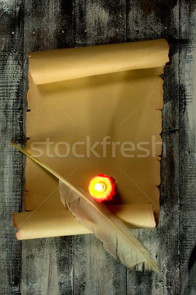 ヴィンテージ スクロール 古代 木製 ペン ストックフォト © sharpner