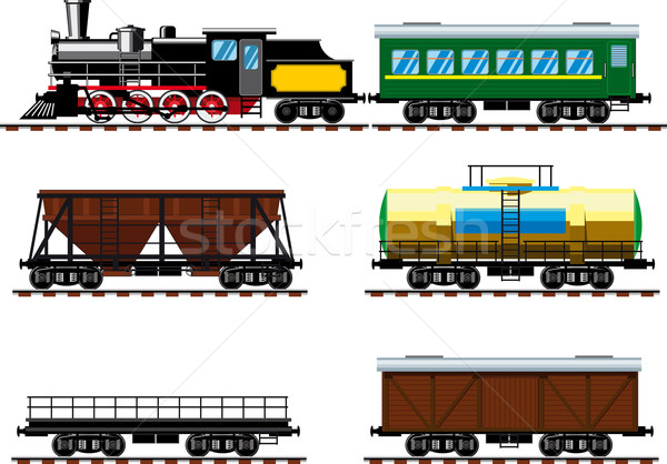 Old steam locomotive with wagons Stock photo © sharpner