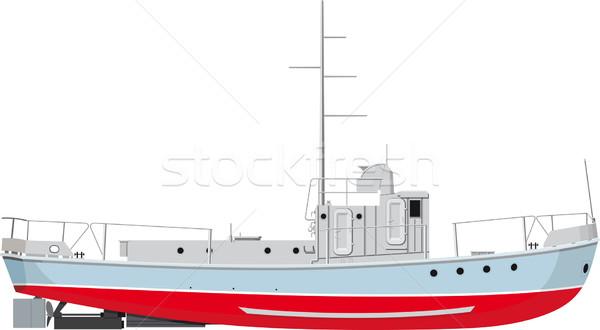 Vissersboot klein zijaanzicht gedetailleerd illustratie geïsoleerd Stockfoto © sharpner
