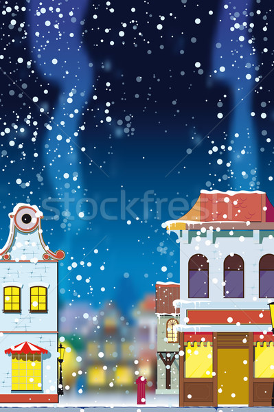 Stock photo: Winter in the little European town