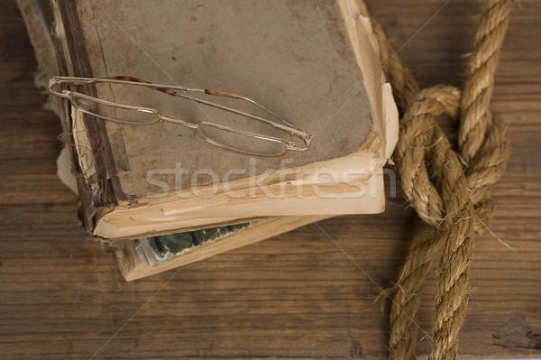 öreg rongyos könyv szemüveg könyvek tábla Stock fotó © sharpner
