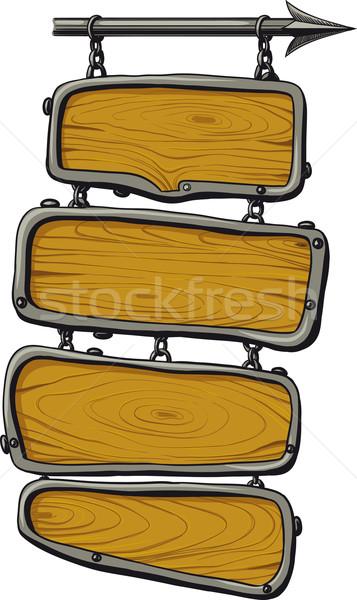 Houten kleur vier opknoping ketens Stockfoto © sharpner