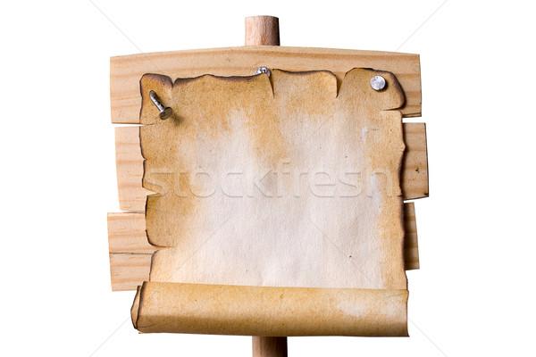Wooden Pointer with Grunge paper Stock photo © sharpner