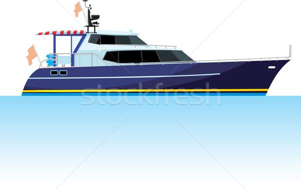 Motor jacht groot water zijaanzicht geïsoleerd Stockfoto © sharpner