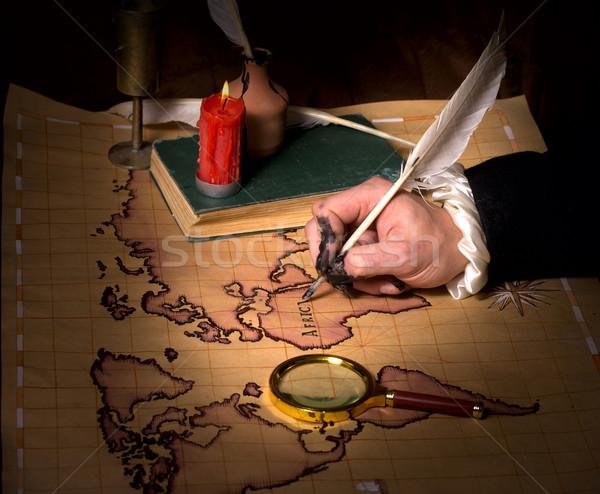 手 地図 インク 着色した 指 世界 ストックフォト © sharpner