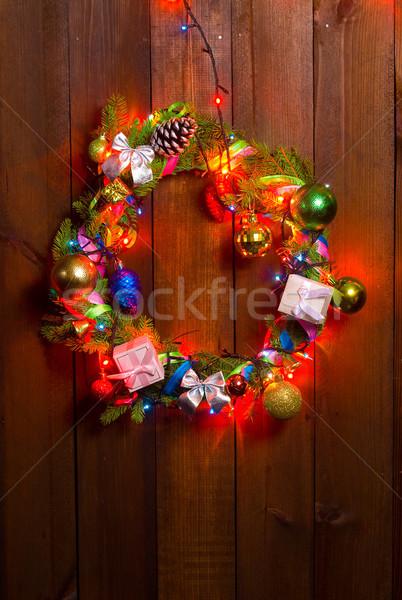 Natal coroa porta decorado brinquedos velho Foto stock © sharpner