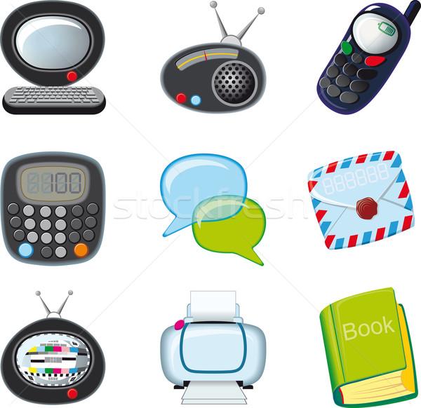 Ingesteld iconen kantoor aan huis business boek televisie Stockfoto © sharpner