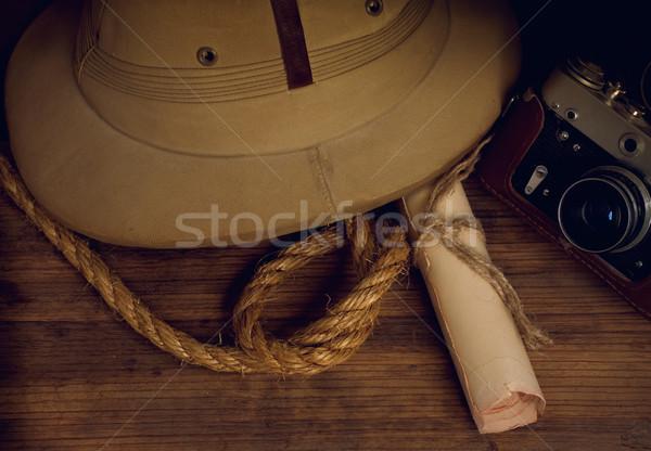 cork helm and camera Stock photo © sharpner