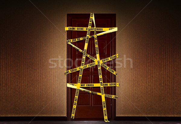 closed dooor with yellow Police tape Stock photo © sharpner