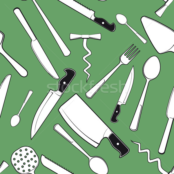 seamless background with antique kitchen tableware Stock photo © sharpner