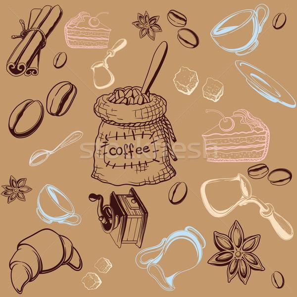 Koffie ingesteld naadloos onderwerp koffie Stockfoto © sharpner