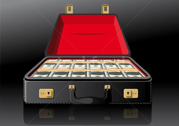 открытых чемодан долларов классический кожа портфель Сток-фото © sharpner