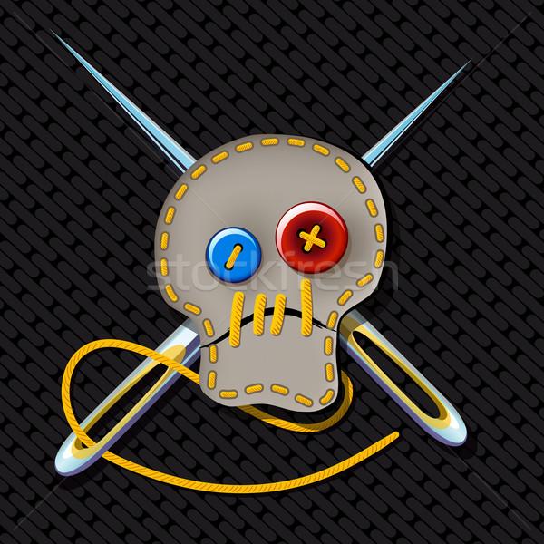 знак жестокий портной комического фотография череп Сток-фото © sharpner