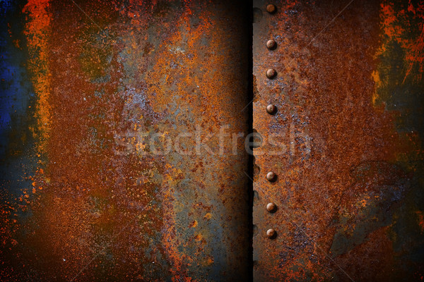 rusty metal plate with a seam Stock photo © sharpner