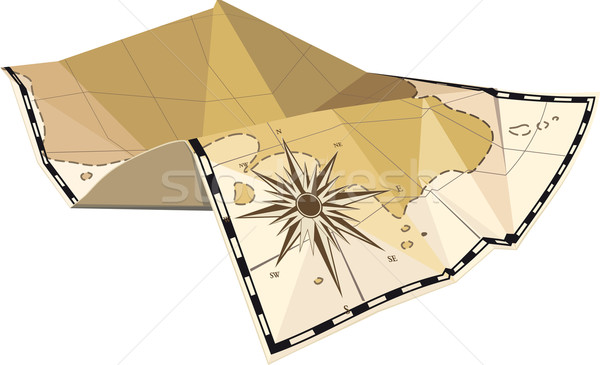 folded map with wind rose Stock photo © sharpner