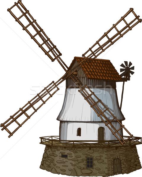 windmill drawn in a woodcut like method Stock photo © sharpner