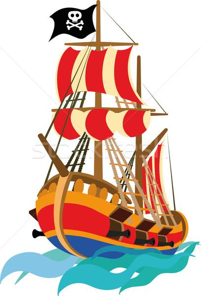 Grappig piraat schip kind kinderen ontwerp Stockfoto © sharpner