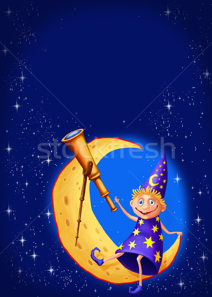 Astrologer with a telescope on the moon Stock photo © sharpner