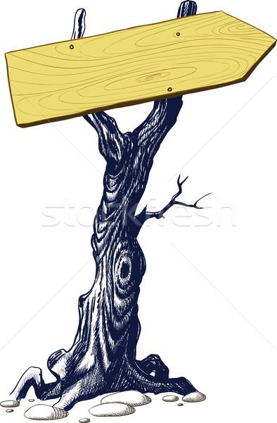signboard nailed the tree Stock photo © sharpner