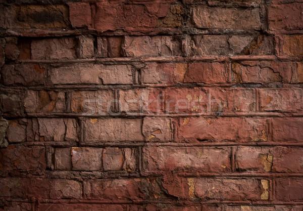 レンガの壁 古い 風化した 壁 赤 描いた ストックフォト © sharpner