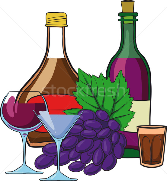 Still Life with bottles of wine Stock photo © sharpner